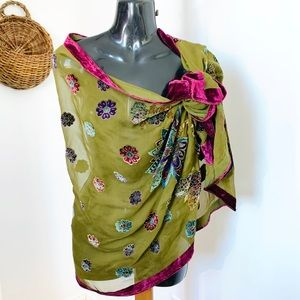 Silk Blend Boho Scarf Shawl Wrap Embroidered Italy